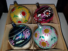 4 Vintage 3 Handcrafted Glass Christmas Ornaments Made in Poland Beautiful