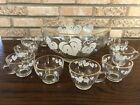 Vintage ANCHOR HOCKING PUNCH BOWL 12 CUPS Ladle WHITE GRAPE LEAVES GOLD TRIM