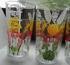 6 VTG 1950'S DRINKING GLASSES TUMBLERS W RED GREEN YELLOW WHITE FLOWERS FENCE