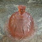 Pink  Covered Butter Dish With Lid VTG Depression Glass