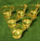 VINTAGE 6 LIBBY GREEK KEY CLEAR GLASS CUP WITH METAL GOLD HANDLE BAND