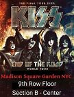 KISS 9th Row FLOOR Center Section  B  MSG NYC March 27 2019 2 tickets