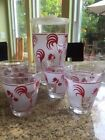 Vintage Red Rooster with cherries frosted glass Carafe and  four 4 oz glasses