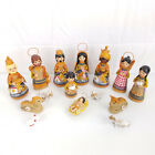 Vtg Hand Made Painted Clay Russian Doll Christmas Nativity Set Figurines