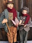 Vintage Christmas Caroler Doll Figure Lot Of 2 80s