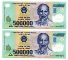 1 MILLION VIETNAM DONG CURRENCY  2x 500000 500000 DONG BANKNOTE UNCIRCULATED
