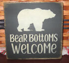 PRIMITIVE  COUNTRY  BEAR BOTTOMS WELCOME  mini  sq   SIGN