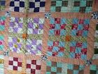 Vintage Patchwork Quilt 68 x 82 - Handmade - Multi Color, Peach Color Border