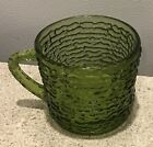Vintage green glass tree bark ripple coffe tea cup mug  Mid Century