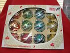 Vintage Christmas Ornament Shiny Brite Glass Ball Glitter Decorated Original Box
