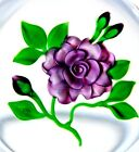 LARGE Gorgeous VICTOR TRABUCCO Purple FLOWER & BUDS Art Glass PAPERWEIGHT