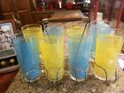 Vintage Federal Glass Company 8 Tumblers Set w/Handled Carrying Rack