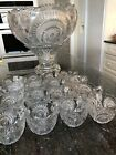 Spectacular Heavy Punch Bowl Serving Set on Stand with 16 Cups