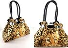 Womens Animal Leopard Print Faux Leather Tote Messenger Shoulder Handbag Bag