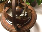 Vintage Old World Globe Wood Desktop Zodiac Astrology Globe Made In Italy
