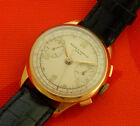 VINTAGE BAUME & MERCIER CHRONOGRAPH CLASSIC SILVER DIAL 34.2MM GOLD PLATED CASE