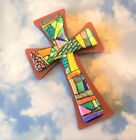 FUSED DICHROIC ETCHED MOSAIC GLASS CROSS ON WOOD WALL HANGING UNIQUE