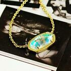 NWT Kendra Scott Elisa Iridescent Necklace Dichroic Glass Gold Tone Color Bar