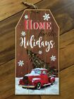 Country Vintage Farmhouse Primitive Red Truck Christmas Home for Holidays Sign