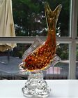 Venetian Murano Italy Glass Fish Figurine Amber with Bubble and Gold Foil Specks