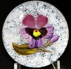 EXQUISITE Magnum VICTOR TRABUCCO Purple PANSY FLOWER Art Glass PAPERWEIGHT
