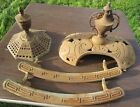 Lot of 2 Antique Ornate Cast Iron Oval Octagonal Parlor Pot Belly Stove Finial