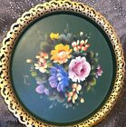 Beautiful Vintage NASHCO New York Hand Painted Floral Tole Metal Serving Tray