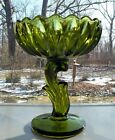Indiana Glass Green Lotus Blossom Compote