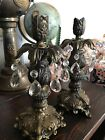 Pair Of Rare Vintage Brass and Glass Prism Chandelier Crystal Candle Holders