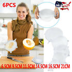 6PC Stretch Reusable Silicone Bowl Wraps Food Saver Cover Seal LIDS White
