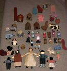 Primitive Amish Dolls~Painted Carved Wooden Barrels Houses Animals Etc~Lot Of 46