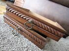 Pair Tiger Oak Storage Drawers Carved Victorian Display Boxes Brass Handle Pulls