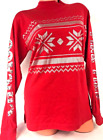 VICTORIAS SECRET PINK CAMPUS SHIRT BLING LOGO SNOWFLAKE PRINT RED MEDIUM A76