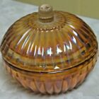 Rare Jeannette Marigold Iridescent Carnival Glass Covered Candy Dish
