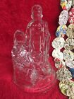 Glass Nativity Figurine Votive Candle Holder Baby Jesus Mary Joseph Christian