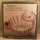 Vintage Chip and Dip Bowl 3 PC. Set Rhythm by Indiana Glass Company New in Box