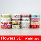 Floral washi tape set Japanese paper Masking tape for Scrapbooking and Planner
