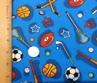 Quilting fabric Kids sports print 100 Cotton by the 1 2 yard