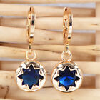 Fashion Women Gold Plated Blue Sparkling Star CZ Round Drop Earrings Jewelry