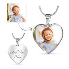 Personalized Photo Create Your Own Luxury Heart Necklace  Bangle + Engraving