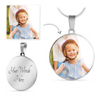 Personalized Photo Create Your Own Luxury Circle Necklace  Bangle + Engraving