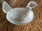 CLEAR GLASS HEN CHICKEN WITH LID VINTAGE CANDY SERVING DISH