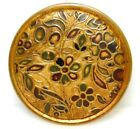 Antique VINTAGE Button Hand painted Victorian Brass Colorful Flowers *4