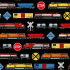 TRAINS ALLOVER ON BLACK FABRIC MATERIAL COTTON, From Elizabeths Studio NEW