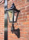 USED Ex Display Large Black Victorian Garden Wall Light Set With Ornate Bracket