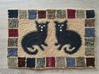 Primitive Style Hooked Rug Mat Folk Art - Black Cat - Pair Vintage