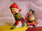 LARGE Holiday Sledding  Skiing Boys Ceramic Salt and Pepper Shakers NEW