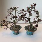 Two Antique Chinese Amethyst Bonsai Hand Carved Trees in Cloisonne pots