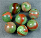 8 MINT VINTAGE ALLEY AGATE CORAL SWIRL MARBLES