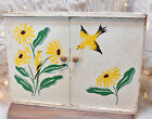 Vintage 1950's Wall Mount Wood Cabinet Hand Painted Yellow Birds